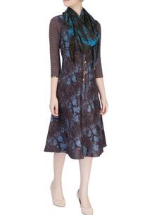 blue-brown-shift-dress