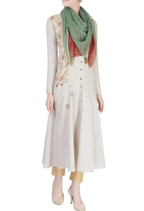 brown-beige-floral-print-dress