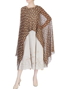 brown-beige-poncho-dress