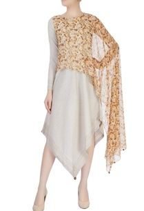brown-beige-draped-dress