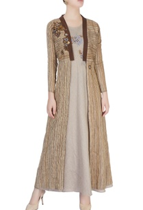 brown-beige-embellished-maxi-dress