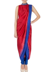 red-blue-sari-with-attached-blouse