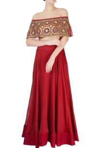 red-lehenga-embroidered-off-shoulder-blouse