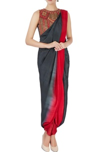green-red-draped-sari