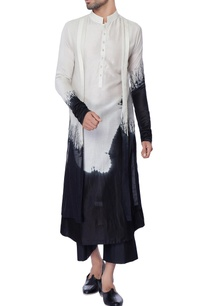 white-black-double-layered-tie-dye-chanderi-kurta