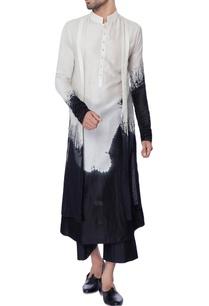 white-black-double-layered-tie-dye-chanderi-kurta