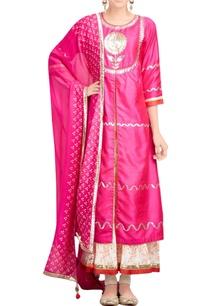 hot-pink-kurta-set-with-printed-inner