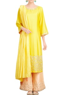 yellow-peach-kurta-set