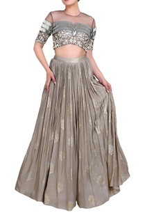 grey-embroidered-blouse-and-lehenga