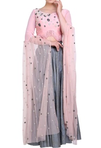 powder-pink-blouse-grey-lehenga