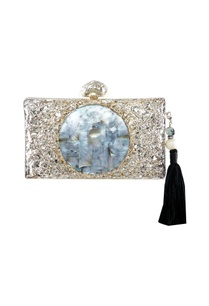 silver-beige-crushed-metal-clutch