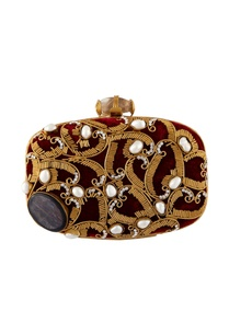 maroon-hand-crafted-brass-clutch