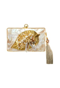 white-gold-leaf-motif-clutch