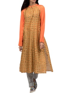 yellow-beige-printed-kurta