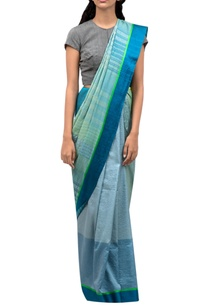 blue-sari-with-neon-green-border