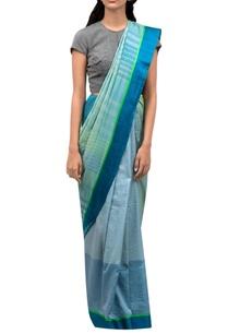 blue-sari-with-neon-green-border