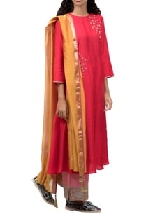 red-embellished-long-kurta-set