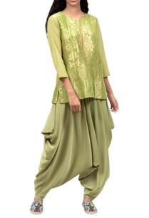 green-silk-top-dhoti-pants
