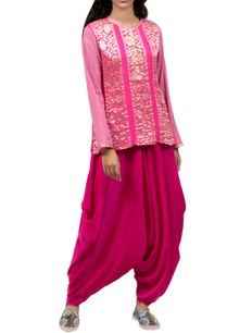 light-pink-zari-work-top-dhoti-pants