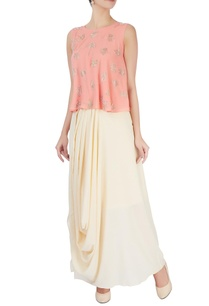 peach-embellished-top-draped-skirt