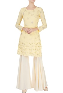 yellow-embellished-kurta-flared-trousers