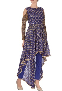blue-high-low-zari-kurta-set
