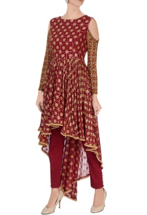 red-sequin-cold-shoulder-kurta-set