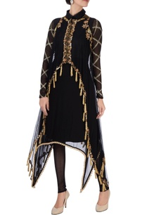 black-kurta-with-tassel-jacket-set