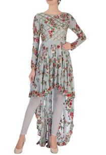 grey-high-low-floral-kurta-set