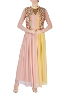 pink-yellow-draped-kurta-and-jacket