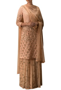peach-embroidered-kurta-lehenga