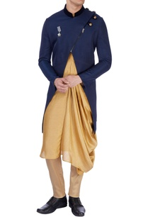 blue-cross-over-jacket-kurta
