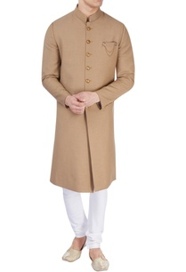 khaki-brown-sherwani-with-golden-buttons