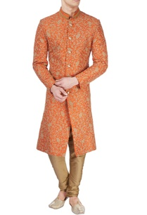 rust-orange-printed-sherwani
