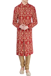 red-floral-printed-sherwani