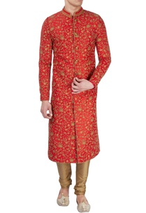 red-sherwani-with-shiny-embellishments