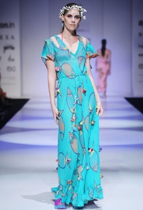 turquoise-blue-printed-dress