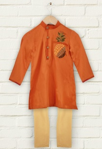 orange-pineapple-motif-kurta