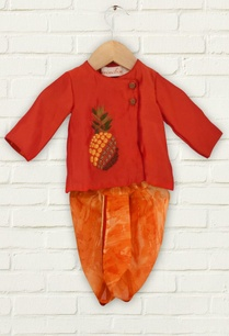 red-pineapple-motif-kurta