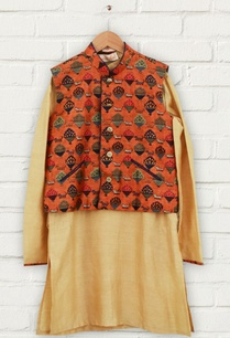orange-printed-jacket-kurta