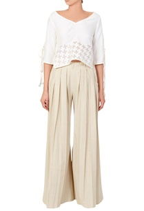 white-blouse-box-pleated-trousers