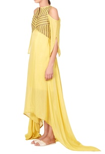 yellow-asymmetric-maxi-dress