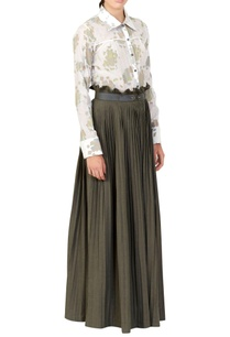 white-floral-shirt-green-maxi-skirt