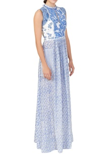 white-blue-abstract-print-dress