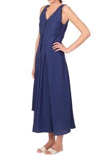 blue-micro-print-midi-dress
