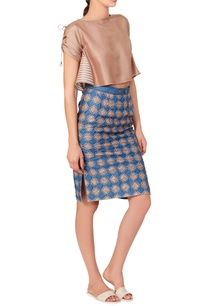 blue-beige-check-skirt-top