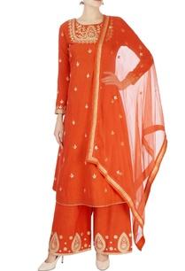 burnt-orange-kurta-flared-pants