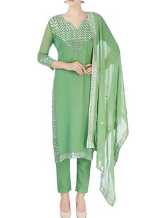 green-foil-embroidered-kurta-set