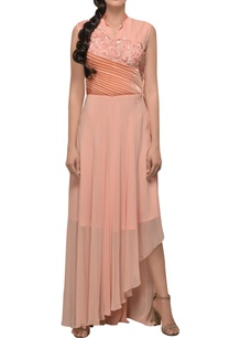 peach-gown-with-pleated-panel-style