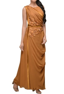 burnt-orange-draped-gown